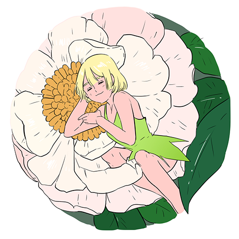나뭇잎 침대에서 잠든 요정