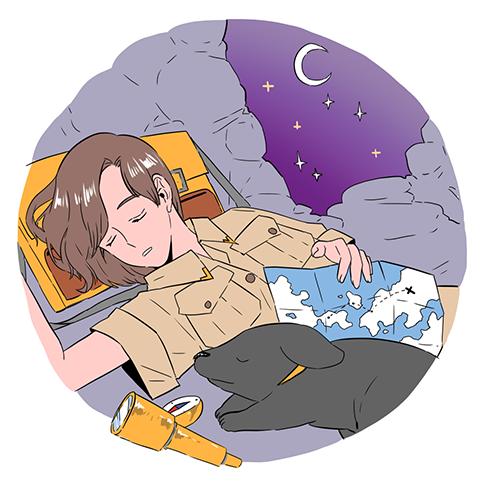 달빛 받으며 잠든 탐험가